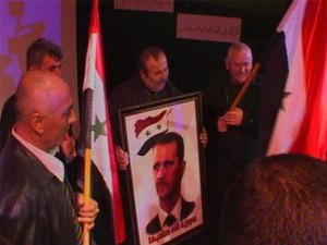 ההפגנה בחיפה בעד אסד בשבוע שעבר. צילום: ערוץ 2